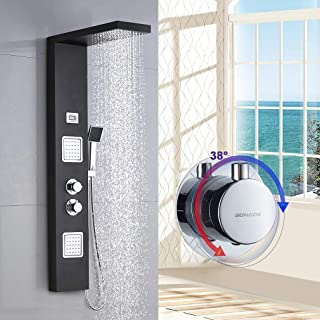 comprar comparacion BONADE Panel de Ducha Termostático LCD Panel de Hidromasaje en Acero Inoxidable con Ducha de Mano y Manguera de Baño - Negro
