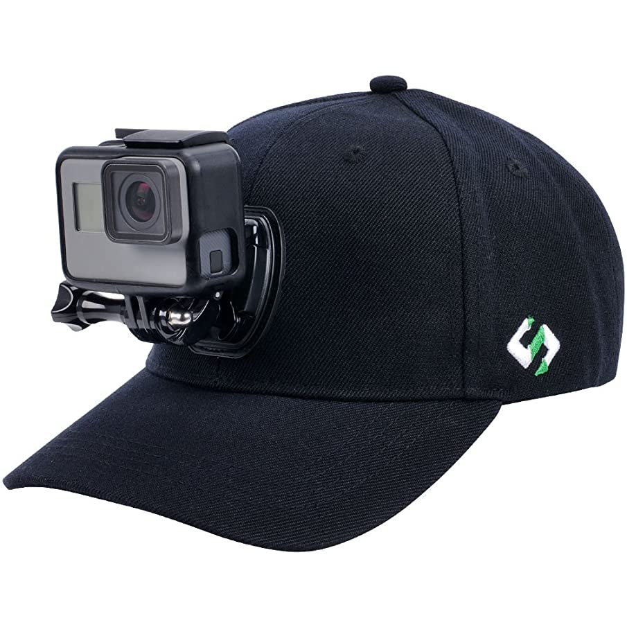 Smatree Baseball Hat with Quick Release Buckle Mount Compatible for GoPro 5 Session Hero 7/6/5/4/3+/3/2/1/DJI OSMO Action Cameras (L 58-60cm) Black