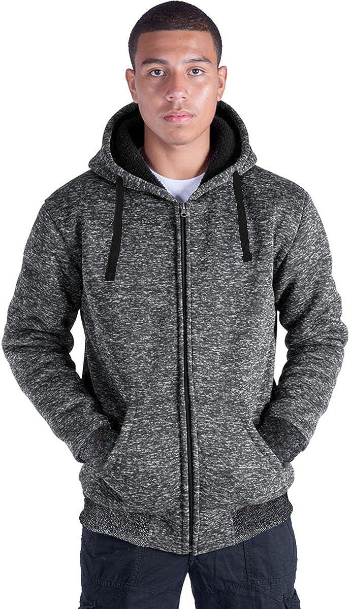 Plus Size S-5XL Marled Fleece Hoodie for Men Heavyweight Sherpa Lined Full Zip Up Big&Tall Long Sleeve Winter Jacket Coat