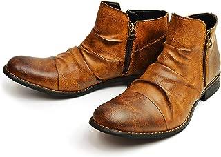 [ジーノ] ドレープ ショートブーツ エンジニアブーツ メンズ ブーツ サイドジッパー シューズ 靴 男