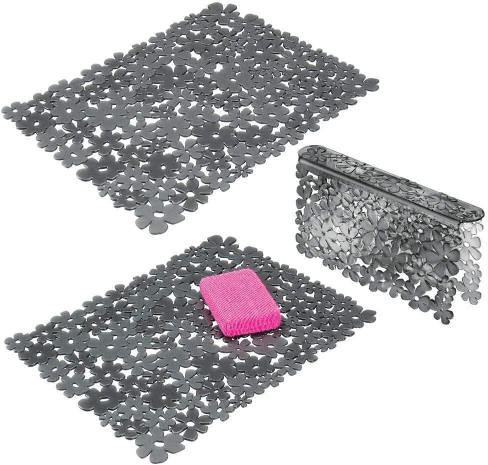 mDesign Juego de 3 escurreplatos grandes de plástico – Rejilla para fregadero con diseño floral para proteger contra arañazos – Tapete protector para fregaderos dobles – gris oscuro