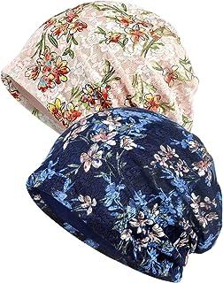 Qunson Womens Lace Flower Beanie Hat Cap Turban