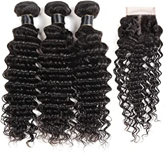 AliBonnie Brazilian Virgin Deep Wave Hair Bundles With Closure 9A Grade 100% Unprocessed Deep Curly Human hair 3 Bundles With 44 Lace Closure Free Part(16 18 20+14closure)
