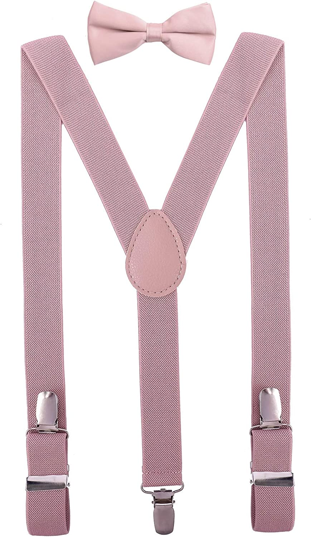 PZLE Men's Boys' Bow tie and Suspenders Set Adjustable Elastic