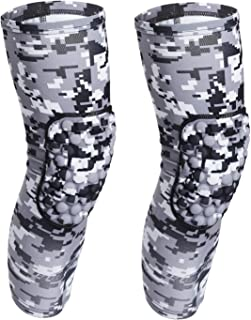 COOLOMG (Pair Basketball Knee Pads for Kids Youth Adult Nebula Galaxy Long Leg Knee Sleeves Protector Gear EVA NASA Digital Camo XXS-XL