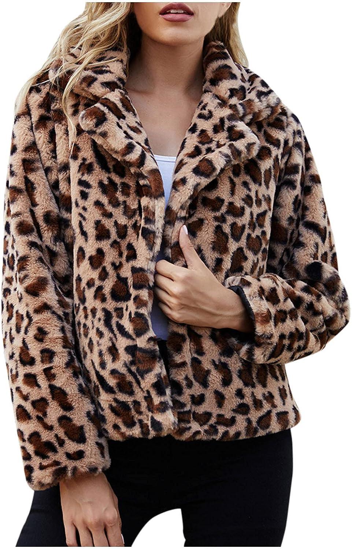 Misaky Women's Warm Winter Leopard Fleece Jacket Long Sleeve Casual Turn-down Collar Short Coat
