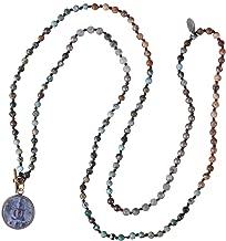 KELITCH Buddha Strand Necklace Long Beaded Sakyamuni Medal Pendant Necklace Lucky