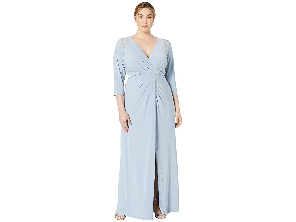 Adrianna Papell Plus Size Embellished Trim Jersey Evening Gown (Ice Blue) Women