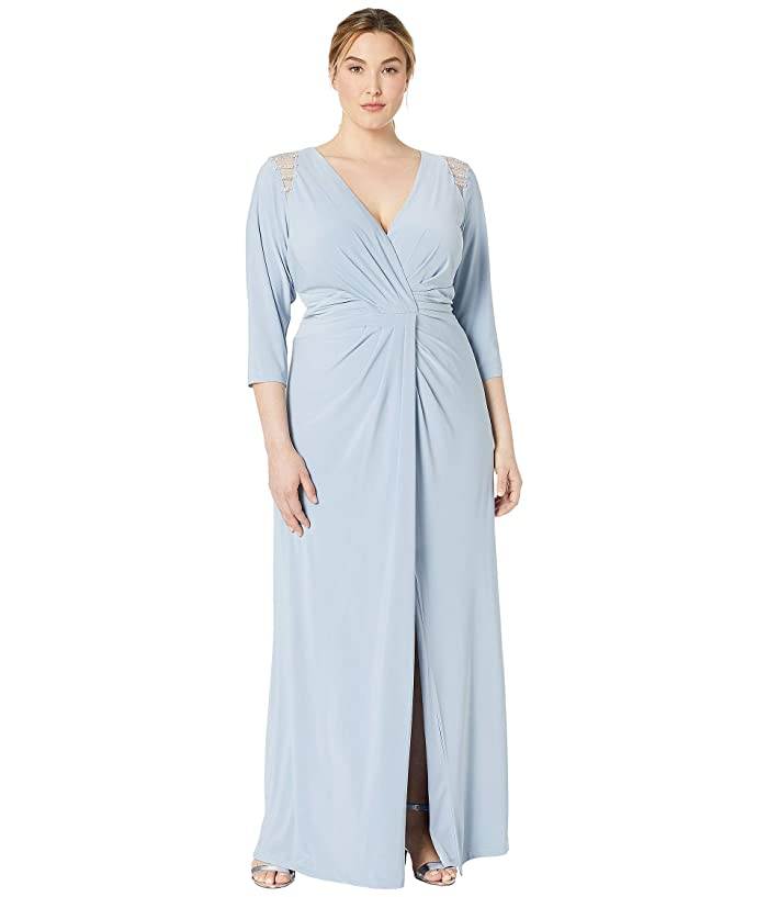 Vintage Evening Dresses and Formal Evening Gowns Adrianna Papell Plus Size Embellished Trim Jersey Evening Gown Ice Blue Womens Dress $167.99 AT vintagedancer.com
