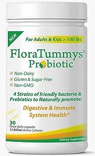 FloraTummys Best Probiotic for Women, Men and Kids. 12 Billion CFU, 4 Probiotic Strains, Prebiotics, Non-GMO, Kosher, Non-Dairy, Gluten Free Probiotic, Sugar Free, Made in The USA.