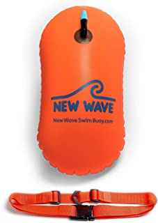 New Wave Swim Bubble for Open Water Swimmers and Triathletes - Swim Safety Buoy Float (Orange)