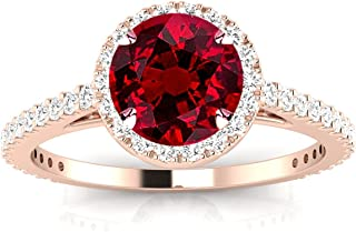 Classic Halo Style Pave Set Round Shape Diamond Engagement Ring with a 0.75 Carat Ruby Heirloom Quality Center