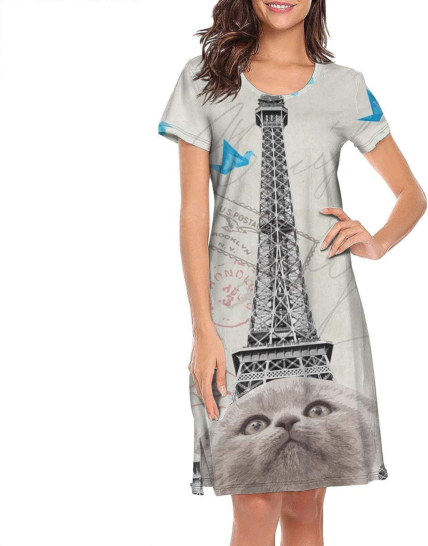 Nightgown Womens Sleepwear Clocks & Caricature Caring Towers Taxi Summer Sleep Shirt Nightwear