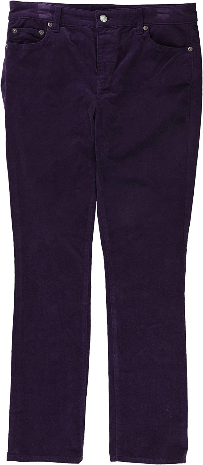 Ralph Lauren Womens Straight Casual Corduroy Pants Mulberry 10P 29  Petite