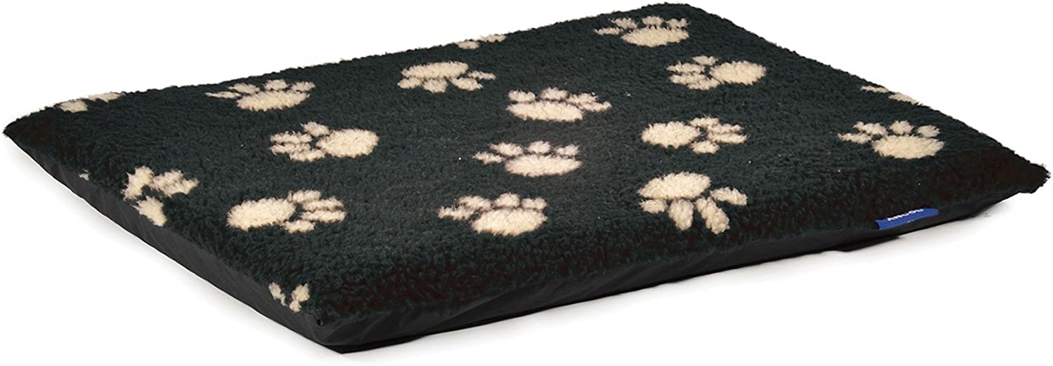 Ancol Pet Products Sleepy Paws Paw Print Flat Pad (36 x 24in) (Black)