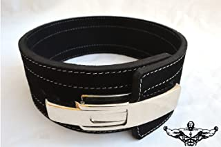 Quest Athletics Powerlifting Belt with Lever Buckle (Black) - 4 Inch Wide 10mm Thick Weightlifting Crossfit Strongman