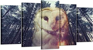 Kreative Arts - 5 Pieces Barn Owl and Pine Forest at Sunset Canvas Prints Wall Art Modern Giclee Prints Artwork Animals Pictures Photo Paintings on Canvas for Living Room Decor (Large Size 60x32inch)