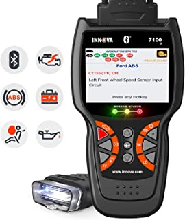 INNOVA 7100P OBD2 Scanner Enhanced OBDII Car Code Reader Check SRS ABS Engine Diagnostic with Oil Light Reset,Battery Replacement Registeration,Battery Alternator Test Bluetooth with Free Pouch