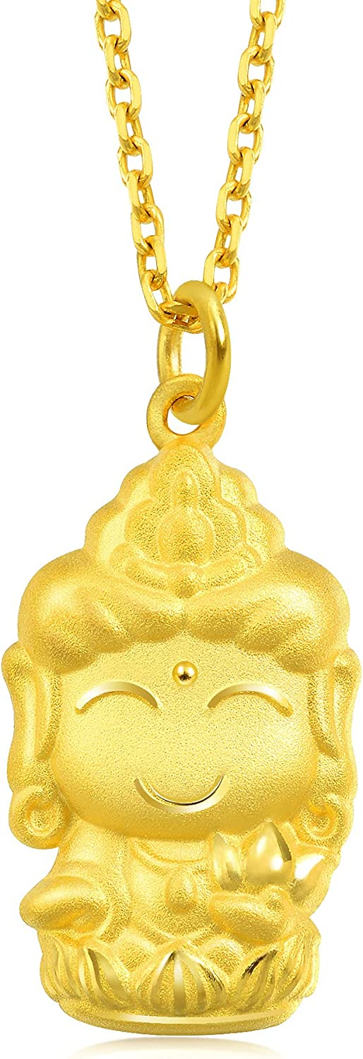 Chow Sang Sang 999.9 24K Solid Gold Price-by-Weight 2.43g Gold Buddha Pendant for Men and Women 89234P [Not Include the Necklace]