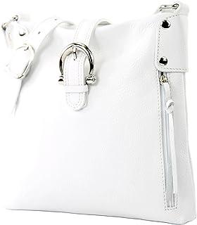 modamoda de -T04 - ital Umhängetasche Schultertasche aus Leder