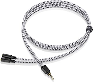 Headphone Splitter, Knitted 3.5mm Audio Splitter TRS 3-Pole Splitter Cable for Headphones Earphones Speakers 1M/3.3ft - Du...