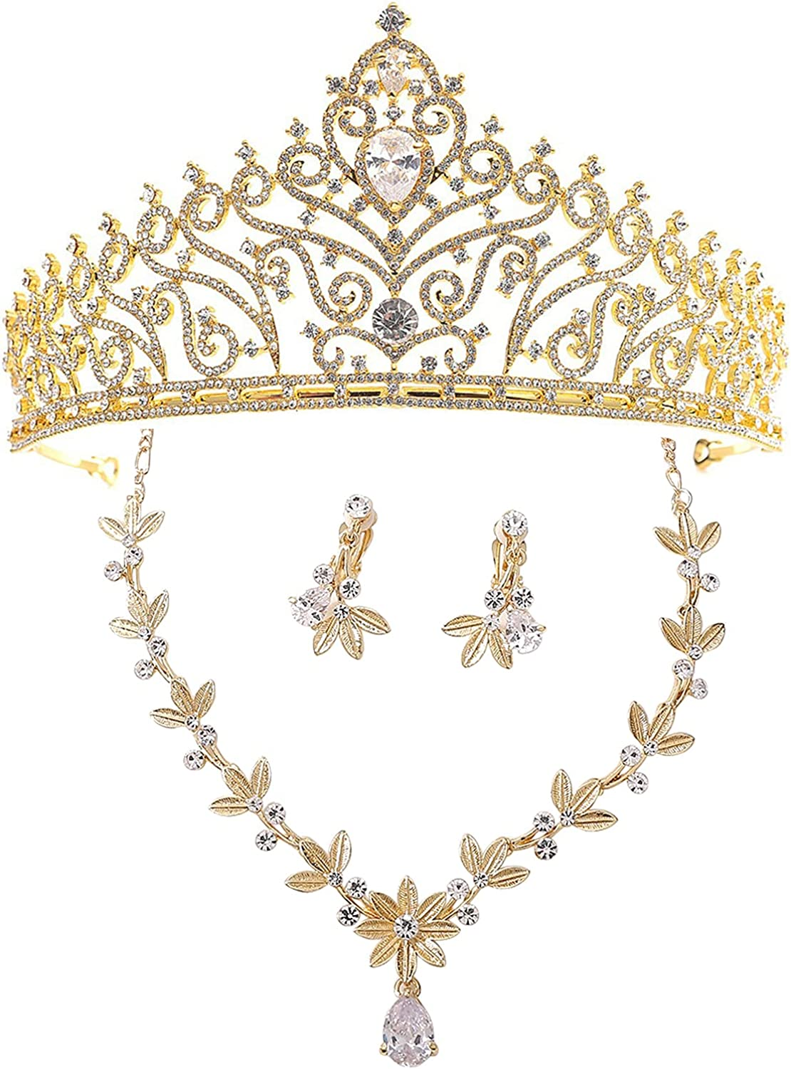 Baroque Fashion Jewelry Bridal Dress Accessories Crown Necklace Earrings White Rhinestones Handmade Craft Inlay Gifts