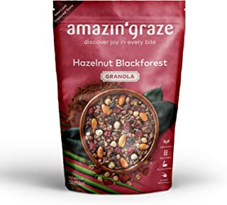 Amazin' Graze Hazelnut Blackforest Granola 250g- Healthy Breakfast Cereal Snack with Dark Chocolate, Dried Cranberries & C...