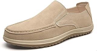 Zapatos casuales Tarjeta de los hombres Zapatos casuales, zapatos planos del delantal de cuero de Nubuck, transpirable Cos...