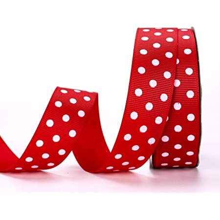 Yard Red with White Dots Grosgrain Dot Ribbon 1-12-Inch by 5
