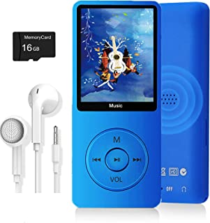 MP3 Player, Music Player with 16GB Micro SD Card, Ultra Slim Music Player with Build-in Speaker, Photo Viewer, Video Play,...
