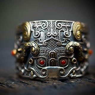 خاتم من الفضة الإسترلينية للرجال على الطراز الصيني خاتم للرجال والنساء، يمكن تعديل المقاس أفضل هدية لصديق (اللون: أحمر)