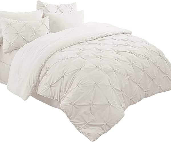 Bedsure 8 Pieces Pinch Pleat Down Alternative Comforter Set Queen Size 88X88 Inches Ivory Bed In A Bag Comforter 2 Pillow Shams Flat Sheet Fitted Sheet Bed Skirt 2 Pillowcases