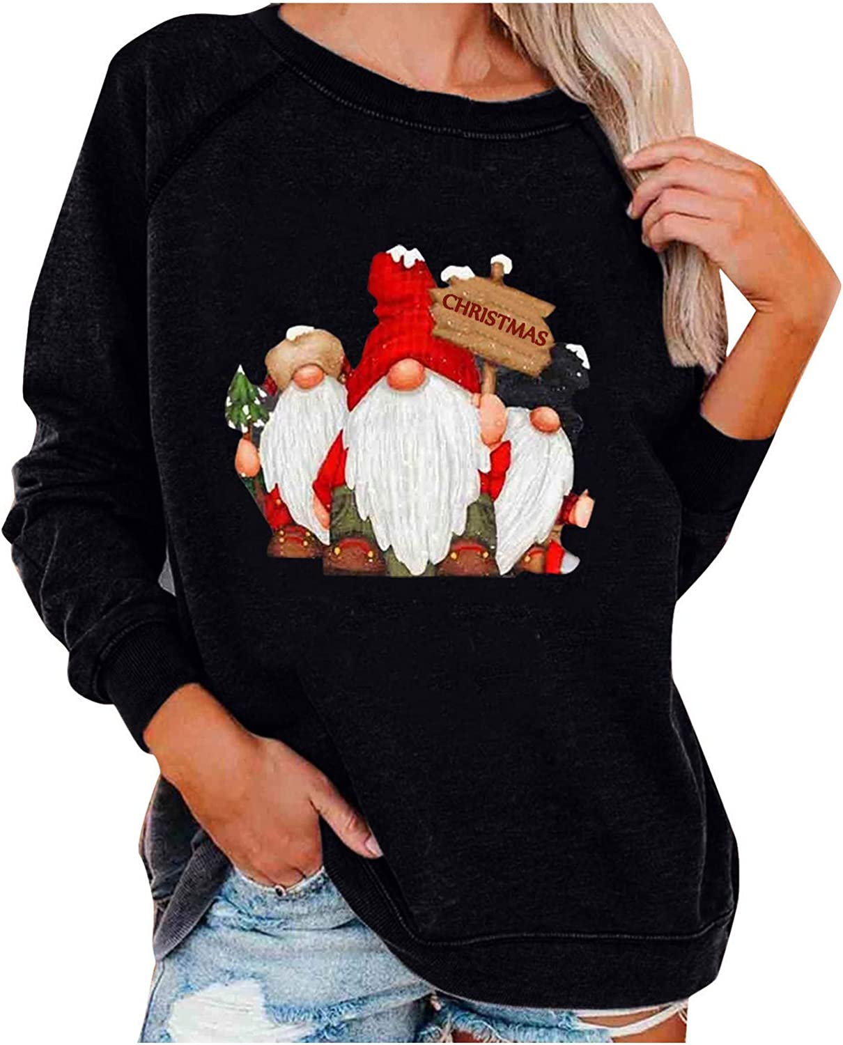 Womens Sweaters,Christmas Women's Casual Christmas Print Neck Round Long Sleeves Pullover Sweatshirt