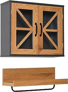 kleankin 2 Muebles de Baño Colgante Armario y Estante Abierto de Pared con Toallero y Puertas de Vidrio de Cierre Magnétic...