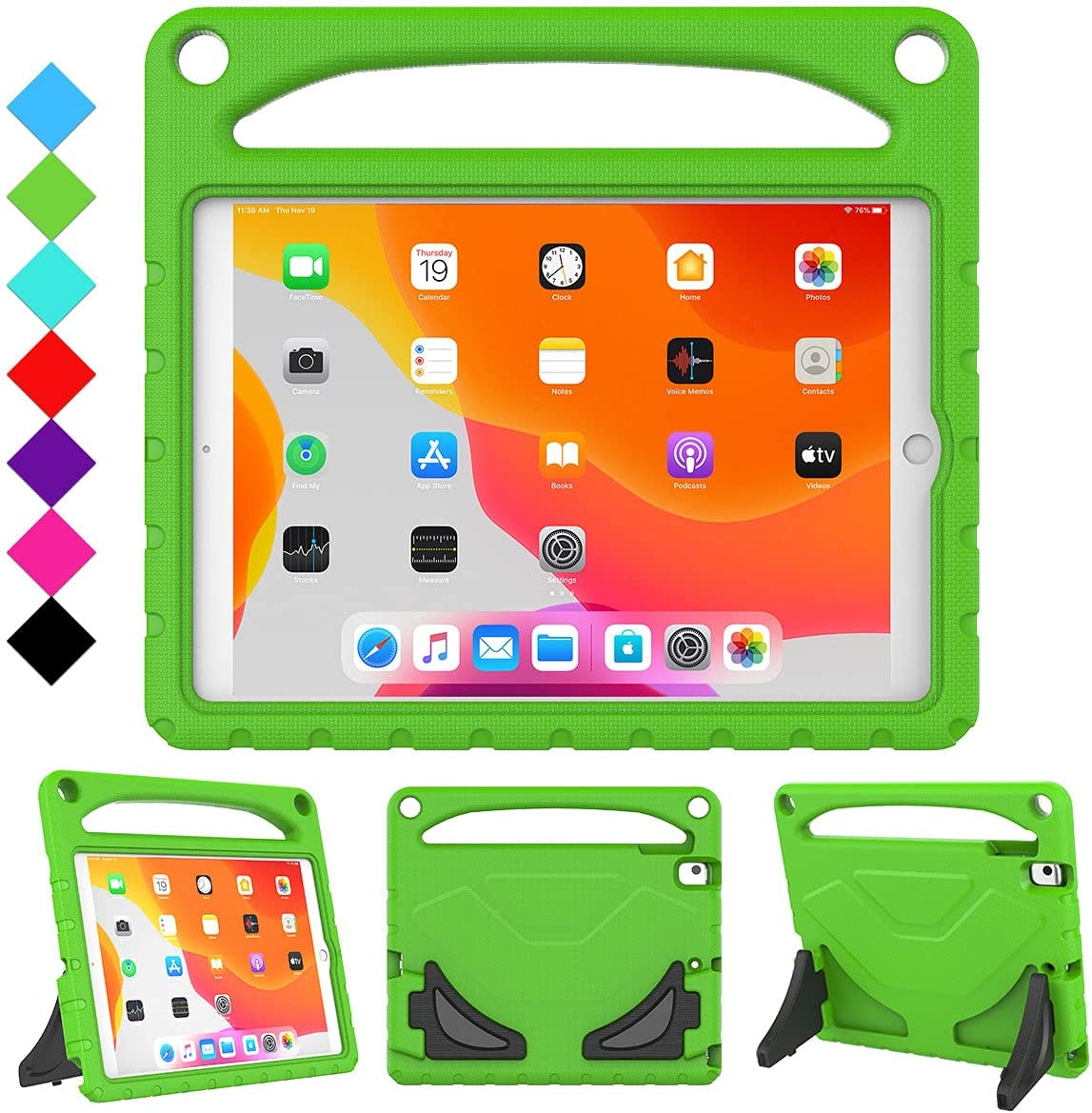 RTOBX iPad 8th Generation Case, iPad 7th Generation Case for Kids, Durable Shockproof Light Weight Handle Stand Protective Cover and Screen Protector for Apple iPad 10.2 2020/2019, Green