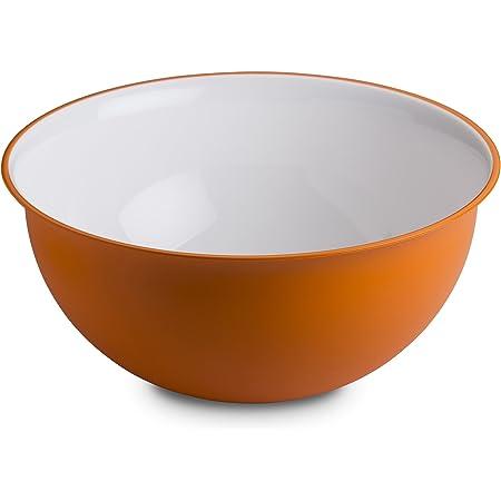 Omada Design Saladier 6,5 litres 32,5 x 15,5 cm, blanc à l'intérieur et coloré à l'extérieur, en plastique antibactérien et incassable, Ligne Sanaliving, Orange