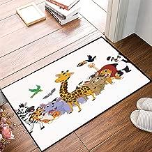 Non-Slip Mat Microfiber Bathroom Rug Shower Mat, Kids,Colorful Jungle Animals Hippo Bat Parrot Giraffe Zebra Rh, Ultra Soft and Water Absorbent Bath Rug,Machine Wash/Dry 24x 39 inches