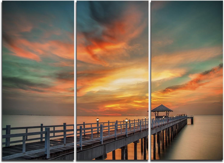 Designart Wooden Wonderful Sky-Sea Pier All items free shipping Free Shipping Cheap Bargain Gift Wall Canv and Art Bridge
