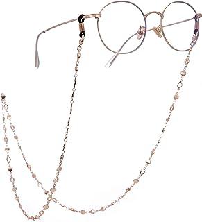سلسلة دائرية حامل النظارات للنساء قلادة طويلة اكسسوارات الموضة (روز ذهبي)