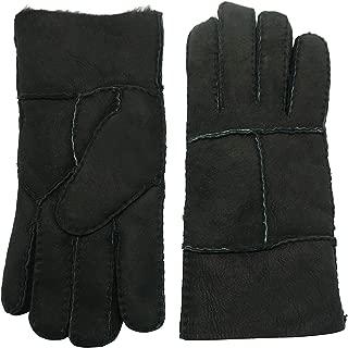 Men's Winter Sheepskin Shearling Leather Gloves Flip Cuff