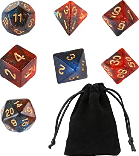 GWHOLE 7 PCS Polyhedral Dice Set Dungeons and Dragons Table Game Dice for D&D, DND, GRP with Black Pouch, Glitter Orange