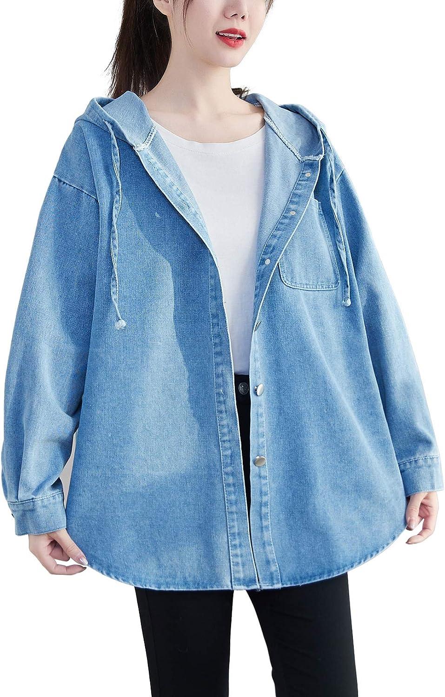 ellazhu Women Button Casual Cropped Pocket Blue Denim Jacket Coat Outwear GA2203 A