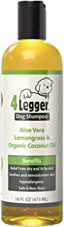 4Legger USDA Certified Organic Dog Shampoo - All Natural and Hypoallergenic with Aloe and Lemongrass, Soothing for Normal, Dry, Itchy or Allergy Sensitive Skin - Biodegradable - Made in USA - 16 oz