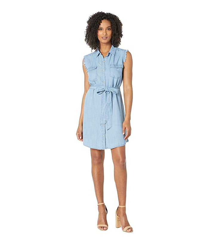 TWO by Vince Camuto Sleeveless Two-Pocket Tie Waist Lyocell Shirtdress (Bayside Wash) Women