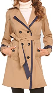 15512d0e0ab EASTHER Women s Winter Warm Jacket Lapel Double Breasted Trench Coat Belt