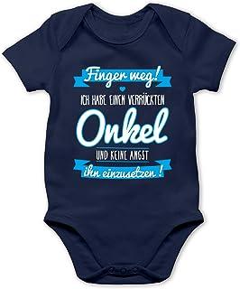 Shirtracer Sprüche Baby - Ich Habe einen verrückten Onkel blau - Baby Body Kurzarm für Jungen und Mädchen