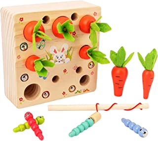 Generic Wooden Montessori Toys, Carrots Harvest Shape Size Sorting Worm Catching Toy for Toddler Kids Early Development