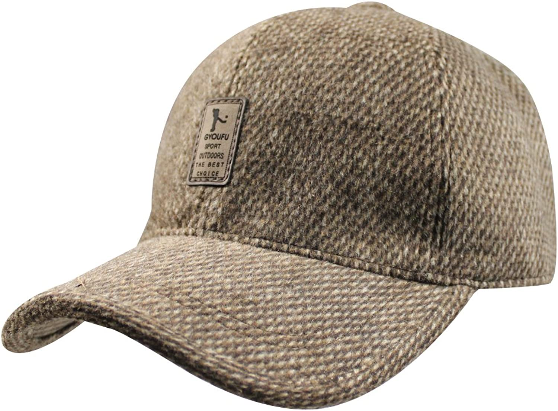 Mens Winter Wool Fleece Lined Plaid Skiing Baseball Cap Hat With Fold Earmuffs