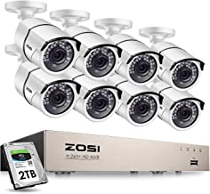 ZOSI 8CH 5MP PoE Home Security Camera System Outdoor with 2TB Hard Drvie,H.265+ 8CH 5MP NVR Recorder,8pcs 5MP Outdoor Indo...