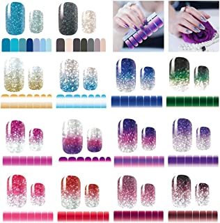 14 Sheets Nail Stickers Glitter Gradient Color Shine Full Wraps Polish Stickers Strips..